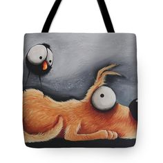 Dog Tote Bag featuring the painting Nosy Crow by Lucia Stewart Dog Tote Bag, Painted Bags, Thing 1, Framed Prints, Canvas Prints, Dog Paintings, Bag Sale, Crow, Fine Art America