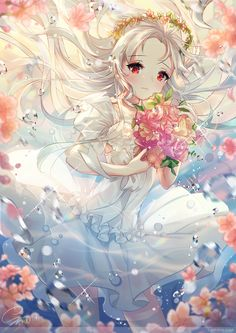 Anime picture with original snow is long hair single tall image blush looking at viewer red eyes holding silver hair signed underwater blurry sparkle floating hair girl dress flower (flowers) rose (roses) white dress Pretty Anime Girl, Beautiful Anime Girl, I Love Anime, Art Manga, Chica Anime Manga, Anime Chibi, Loli Kawaii, Kawaii Anime Girl, Girls Anime