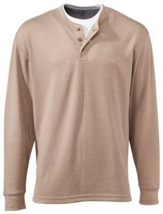 RedHead Workhorse Doubler Henley Shirts for Men - Long Sleeve - Khaki - L