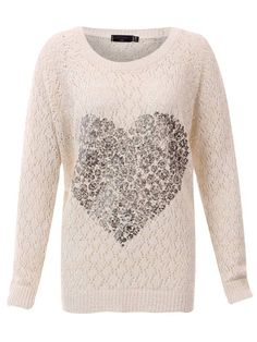 #CLOTHING CLOSET CREAM CROCHET KNT WITH FOIL HEART by rubyredboutique.co.uk for £22.50
