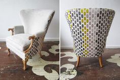 Chairloom (Ardmore, PA) - wing chair with woven Boussac textile on the back. I like the use of 2 fabrics and the large-scale print.