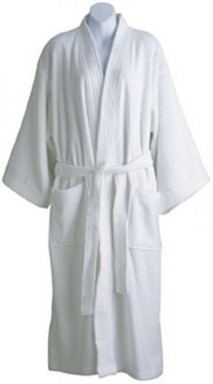 bb70b22490 Roomy kimono-style bathrobe is 100% cotton. Terry Velour. Available in White