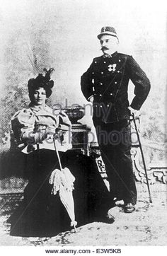 Jan. 1, 1900 - Paris, France- Dutch exotic dancer and courtesan MATA HARI pictured with her husband, a Dutch naval - Stock Image