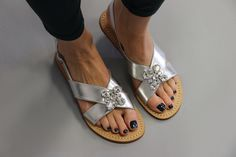 Silver Sandals, Leather Sandals, Mystique Sandals, Types Of Women, Birkenstock, Wedges, Pairs, Flats, Handmade