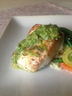 Pan Roasted Cobia With Double Basil Pesto