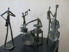 VINTAGE 3 JAZZ BAND METAL ART SCULPTURES &1 ART DECO BRONZE JAZZ  PLAYER STATUE