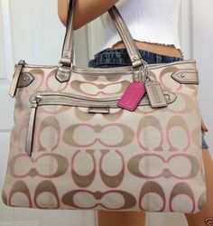 Nwt Coach Khaki Pink Signature Poppy Style Large Handbag Tote Shoulder Bag Purse #Coach #TotesShoppers