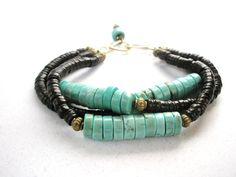 Gemstone Bracelet Turquoise Howlite and Shell by esdesigns65, $50.00