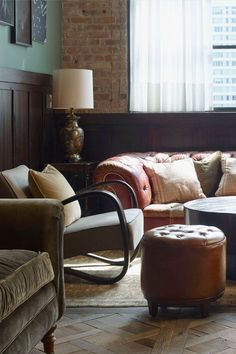 Every button on our ottomans and sofas are hand-threaded with a giant needle - a real expert skill because the placement has to be completely precise Soho Farmhouse Interiors, House Property, Soho House, Chesterfield Sofa, Public Spaces, Living Room Colors, Ottomans, Apollo, Home Decor Inspiration