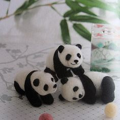 needle felted panda bears