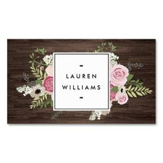 Elegant French Country Pink Roses On Woodgrain Business Card Carte De VisiteCartes
