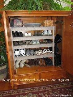 DIY Shoe Cabinet : old entertainment center + shelves.