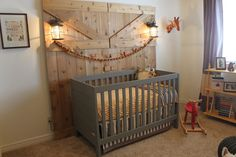 Great Design insparation:) not that I'm planning on putting together a nursery any time soon, but great ideas for what ever room, minus the crib... (love the barn door by the way!