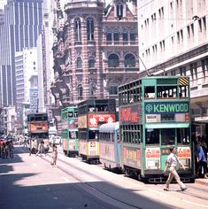 Hong Kong - A close up of the photo of trams on Des Voeux Road C
