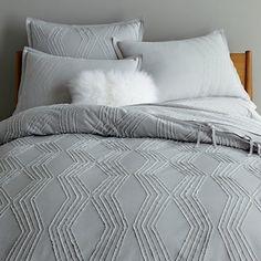 Roar   Rabbit Zigzag Texture Duvet Cover   Shams - Frost Gray