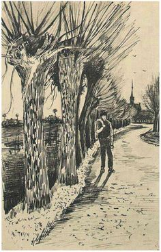 Vincent van Gogh Letter Sketches, Etten: October, 1881 Van Gogh Museum Amsterdam, The Netherlands, Europe F: 152, JH: 58 Image Only - Van Gogh: Road with Pollard Willows
