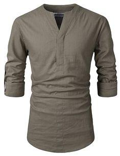 60dfddd3e66 NEARKIN (NKNKN370 Mens No-Button Slit Vanguard Linen Henley Neck Shirts  Khaki US XS