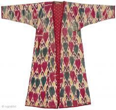 Ikat Woman's Robe. Khorezm, Uzbekistan. Late 19th century. Adras ikat lined with Russian printed cottons. Russian printed and woven striped ...