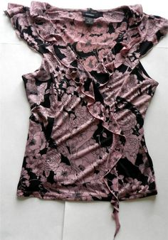 Express Womens Sz M Top Blouse Pink Black Lined w/Cami Cap Sleeve & Front Ruffle http://stores.ebay.com/AJs-Unique-Boutique