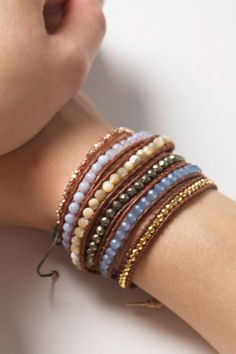 Blue Chalcedony and crystal Wrap Bracelet #wrapbracelets Shop: www.talulahlee.com