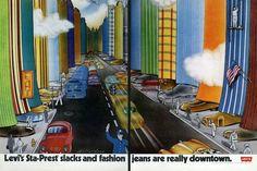 "1970 Levi's Fashion Pants Ad ""Downtown Art"""