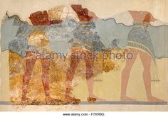 Fragment of the Procession Fresco from the Minoan Palace at Knossos. Three  male figures are