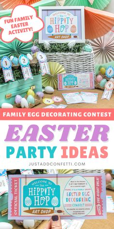 Looking for a super fun and creative Easter party? This family Easter egg decorating contest is adorable! I've got you covered with a bunch of party printable decorations—Easter egg voting ballots, award banners, an invitation and a sign! The printables are available in my Just Add Confetti Etsy shop. Create fun Easter memories with your family with these cute designs! Also, be sure to head to justaddconfetti.com for even more Easter party décor ideas, gift ideas, decorations and crafts.