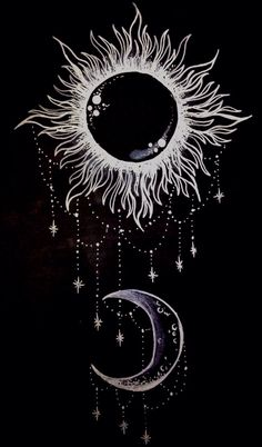 Moon/sun, black, drawing,