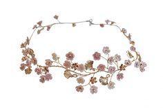 Sakura Garland blush and golden flowers cherry blossom garland Gold Accessories, Wedding Hair Accessories, Reign Fashion, Wedding Hair Pieces, Hair Vine, Mother Pearl, Cherry Blossom, Garland, Wedding Hairstyles
