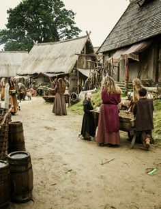 Image in vikings collection by Viking House, Viking Life, Medieval Life, Medieval Fantasy, Medieval Village, Medieval Market, Medieval Castle, Iron Age, Wicca