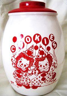 Raggedy Ann Andy Cookie Jar Rag Doll Party Clowns by fantasycrafts