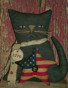 Primitive-Americana-Patriotic-7-034-Kitty-Cat-Doll-Flag-Ro-039-s-Cluttered-Attic