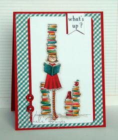 Featuring Stamping Bella's Uptown Girl Betty Loves Books SKU 760559, available at www.addictedtorubberstamps.com