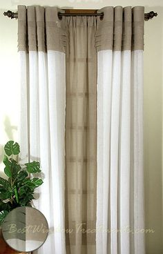 Geneva Sheer Colorblock Curtains in Linen/Ivory, Butterscotch/Custard and Olive/Linen