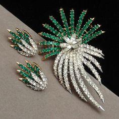 Shooting Star Comet Set Trifari Brooch Pin Earrings Vintage Rhinestones | eBay