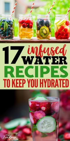 Have trouble staying hydrated in the spring and summer heat? Or do you just get tired of drinking pl Fruit Water Recipes, Flavored Water Recipes, Fruit Infused Water, Infused Water Bottle, Infused Waters, Water Infusion Recipes, Flavored Waters, Yummy Drinks, Healthy Drinks