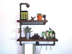 "Industrial Pipe Bathroom Shelf Towel Rack the ""Bathroom Attendant"""
