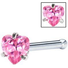 18 Gauge Pink Heart Cubic Zirconia Nose Bone #piercing #nosering #bodycandy