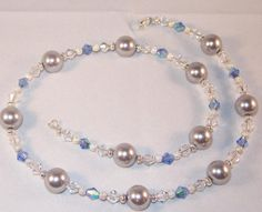 Swarovski Crystal and Pearl Jewelry - Light Gray Pearls & Blue Crystals Necklace