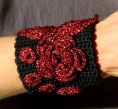 Gothic crochet bracelet black and red ooak by YANKAcreations