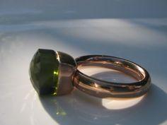 QUDO Ring Firenze * Roségold * Olive Grün klarer Stein dunkelgrün *