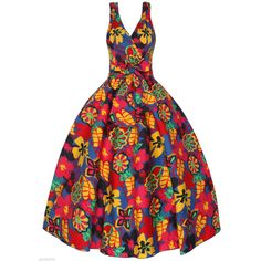 Sarah-P butterfly floral vintage 50's retro rockabilly swing dress ($55) ❤ liked on Polyvore featuring dresses, evening dresses, vintage dresses, cocktail dresses, party dresses and swing dress