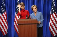 In this photo provided by NBC, actress Tina Fey, left, plays Governor Sarah Palin, and actress Amy Poehler plays Senator Hillary Clinton on Saturday Night Live  Sept. 13 in New York. DANA EDELSON / ASSOCIATED PRESS