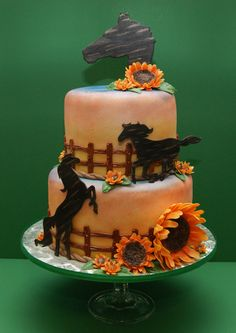 My Sunflower and Horse Cake - I made this cake for a lady who loves horses. The cake flavor is chocolate filled with ganache and vanilla bean buttercream, and covered with white chocolate fondant. I painted the fondant to look like the sunset. I made the horses, sunflowers, leaves, fence, and rope border out of gumpaste and fondant. http://www.facebook.com/madhousebakes