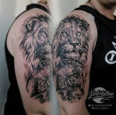 Lion tattoos hold different meanings. Lions are known to be proud and courageous creatures. So if you feel that you carry those same qualities in you, a lion tattoo would be an excellent match Lion Tattoo Sleeves, Mens Lion Tattoo, Arm Sleeve Tattoos, Hair Tattoos, Tattoo Sleeve Designs, Tattoo Designs Men, Arm Tattoo, Body Art Tattoos, Family Tattoos For Men