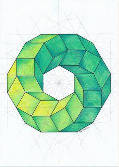 Dessin géométrique how to make brown color - Brown Things Geometry Art, Sacred Geometry, Geometry Tattoo, Op Art, Escher Kunst, Geometric Drawing, Math Art, 3d Drawings, Illusion Art