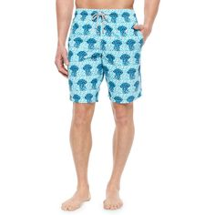 Vilebrequin Okoa Jellyfish Print Boardshorts ($250) ❤ liked on Polyvore featuring men's fashion, men's clothing, men's swimwear, blue, vilebrequin mens swimwear and mens board shorts swimwear