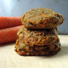 Carrot Cake Cookies...1 cup raw pumpkin seeds, ground fine - 2-4 T. mesquite flour or yacon powder (coconut sugar would probably work, though I haven't tried it) - 2 t. cinnamon - stevia to taste (I used 14 drops NuNaturals Vanilla liquid stevia) - 2 T. chia seed, ground fine + 6 T. water OR 2 eggs - 1 cup finely shredded carrots (I used a microplane ribbon grater.) - 1/2 t. baking soda - 1/4 t. salt