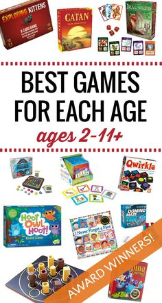 The best games for kids by age. Find the best game to give as a gift for your 2 year old through to 11 year olds and up. Each award-winning game will be enjoyed by multiple age ranges so these are truly family games, too. Card Games For Kids, Family Fun Games, Fun Games For Kids, Family Activities, Games To Play, Kid Games, Therapy Activities, Educational Board Games, Fun Board Games