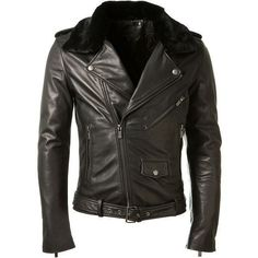 Blk Dnm Black Leather Biker Jacket ($1,225) ❤ liked on Polyvore featuring men's fashion, men's clothing, men's outerwear, men's jackets, mens real leather jackets, mens leather moto jacket, mens fur collar jacket, mens leather jackets and mens leather motorcycle jackets